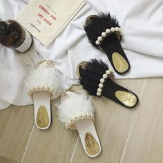 lace ruffles beading beach shoes women flat all-match flower flip flops woman pearl slides brand design shoes woman pantufa Flip Flop Slippers, Flip Flop Sandals, Flip Flops, Winter Shoes For Women, Shoes Women, Women Sandals, Fluffy Sliders, Ruffle Beading, Rhinestone Sandals