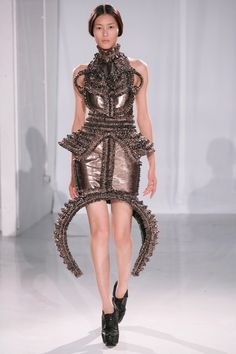 Sculptural Symmetry - dress with intricate dimensional patterns; wearable art form; 3D fashion // Haute Couture, Iris van Herpen