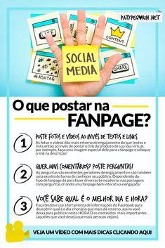 Facebook: O que postar na fanpage para cativar seu público? 5 dicas de conteúdo para fanpages em: http://patypegorin.net/conteudo-para-fanpages/