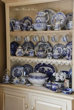 Aiken House & Gardens: Blue & White Transferware Cupboard add cup holders to a hutch Dish Display, China Display, Hutch Display, Blue Dishes, White Dishes, White Plates, Blue And White China, Blue China, Vintage Dishes