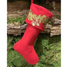 Oak Leaf | d stevens llc Southern Christmas, Oak Leaves, Acorn, Christmas Stockings, Applique, Holiday Decor, Red, Home Decor, Needlepoint Christmas Stockings