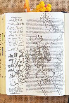 Ezekiel Dry Bones Come Alive Ezekiel Bible, Ezekiel 37, Scripture Verses, Scripture Journal, Art Journaling, My Bible, Bible Art, Dry Bones Bible, Bible Prayers