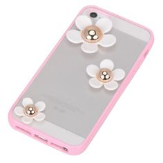 Rhinestone pink flower decorated simple design(5/5s) tpu Mobile phone products