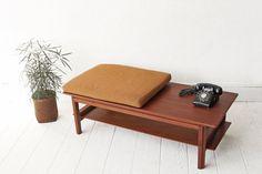 Sale - Teak Bench Coffee Table With Cushion Seffle Mobelfabrik Sweden
