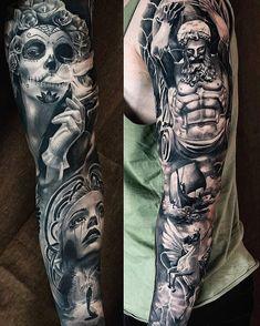 Tattoo , pegas tattoo , atlas tattoo , Mexic tattoo Skull Sleeve Tattoos, Tattoo Sleeve Designs, Body Art Tattoos, Zeus Tattoo, Tattoo Pain, Manga Tatoo, Tattoos Costas, Caduceus Tattoo, Tattoo No Peito