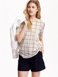Women's Plaid Pocket Tees | Old Navy