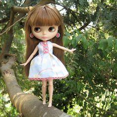 Blythe doll dress with blue sky, rainbow, clouds, butterflies
