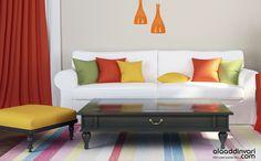 Rengarenk salonlara, rengarenk aydınlatma çözümleri Alaaddinvari'de! www.alaaddinvari.com Decor, Furniture, Sofa, Home, Couch, Home Decor