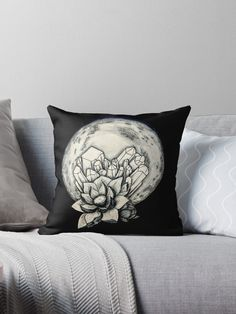 'moon crystal' Throw Pillow by Vegan Illustrator Throw Pillows, Illustrations, Crystals, Toss Pillows, Decorative Pillows, Illustration, Crystal, Decor Pillows, Scatter Cushions