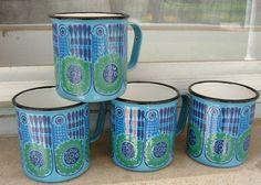 Vintage Finel Bird Mugs - in blue! Vintage Enamelware, Vintage Kitchenware, 70s Decor, Color Me Mine, Displaying Collections, Mid Century Design, Scandinavian Design, Retro Vintage, Coffee Cups