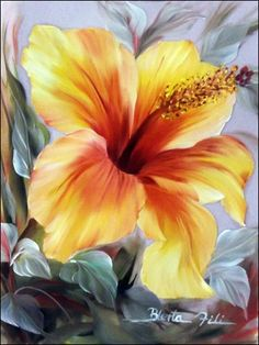 Ons happy hibiscus by die swembad. Oil Painting Flowers, China Painting, Watercolor Flowers, Watercolor Paintings, Arte Floral, Hibiscus Flowers, Tropical Flowers, Pictures To Paint, Nails Pictures