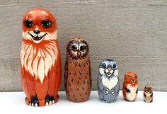 Animals Nesting dolls - Matryoshka - Russian nesting doll - Babushka - Fox - Owl - Rabbit - Squirrel -Mouse