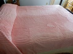 Vintage Plush Pink Chenille Full Bedspread by SnowyCreekDesigns