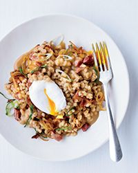(I'll have to find a ham substitute) Pearl Barley Porridge with Ham and Eggs Recipe on Food & Wine