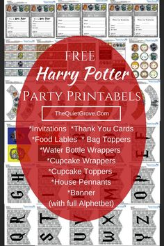 Everything you need to throw the perfect Harry Potter Party (Including Invitations for Birthday, Halloween or just because)  #PartyPrintables #HarryPotter #ThemeParty #HarryPotterParty #FreePrintables