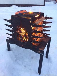 woodworking for beginners Fire Pit Bbq, Metal Fire Pit, Diy Fire Pit, Outdoor Oven, Outdoor Fire, Outdoor Cooking, Outdoor Decor, Gas Bottle Wood Burner, Table Plancha
