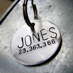 Custom Pet ID Tag Jones in 1'' Brushed Aluminum by theCopperPoppy
