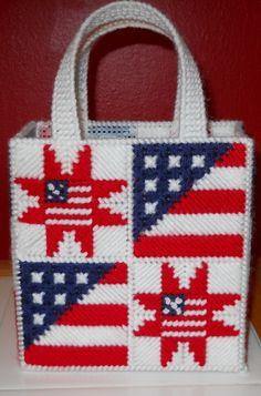 Plastic canvas  Stars and Stripes gift bag by KellysHandmadeCrafts, $5.00