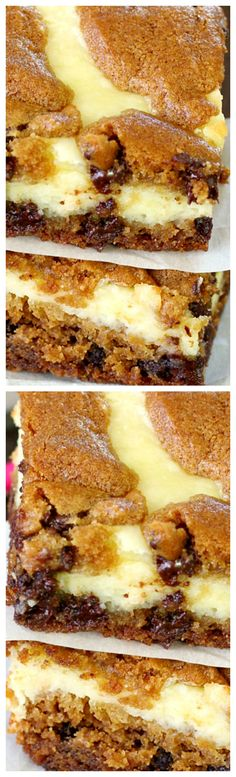 Chocolate Chip Cheesecake Bars ~ Chocolate chip cookies or cheesecake? Why choose when you can have these Chocolate Chip Cheesecake Bars!! They are the best of both worlds!