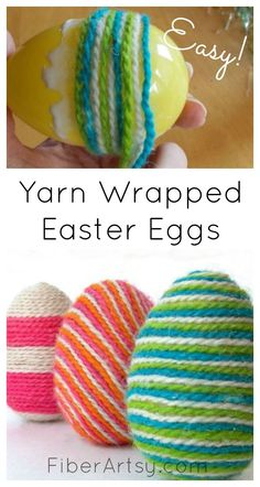 Yarn Wrapped Easter Eggs is part of Yarn crafts Easter - A new way to decorate your Easter eggs by wrapping them with colorful yarn Fun craft idea for kids Free step by step tutorial from FiberArtsy com Yarn Crafts For Kids, Easter Projects, Easter Crafts For Kids, Fun Crafts, Crafts Toddlers, Stick Crafts, Kids Diy, Fun Easter Ideas, Art Projects