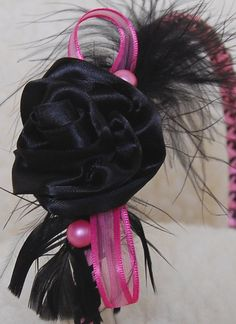 Pink & Black Feather Headband with Black Rose by Feather Headband, Black Feathers, Pink Black, Veil, Daughter, Dreadlocks, Trending Outfits, Rose, Hair Styles