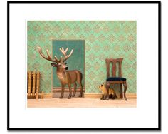 2 FOR 1 SALE deer and fox art woodland animal by WildLifePrints