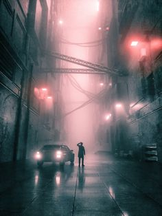 Rainy night art in the city. Cityscape Photography, Urban Photography, Night Photography, Creative Photography, Street Photography, Landscape Photography, Christophe Jacrot, Neon Noir, Cyberpunk City