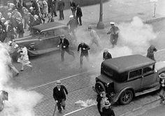Using tear gas during truckers' strike, Minneapolis, 1934 (Minnesota Historical Society)