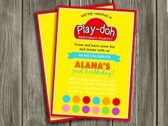 Printable Play Doh Birthday Invitation   Playdough   Molding Dough   Clay   Kids Birthday Party Idea   Craft   FREE thank you card included   Become a loyal fan on Facebook to receive freebies and see the latest designs! www.facebook.com/DazzleExpressions