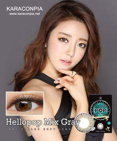 #カラコン #カラコンぴあ ★【2Weeks x 3】ハローポップミックスグレー (Hello Pop mix Gray) DIA 14.2mm★ 細かいドットが溶け込んだ模様と黒いふち。3色のソフトコンタクトレンズ。