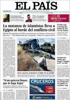 Los Titulares y Portadas de Noticias Destacadas Españolas del 9 de Julio de 2013 del Diario El País ¿Que le parecio esta Portada de este Diario Español?