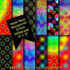 Hippie Trippy Digital Patterns | Digital Backgrounds | Retro Style Digital Patterns | Digital Scrapbooking Paper | Digital Patterns | Hippie