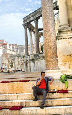 The best place for coffee EVER! Me, having coffe inside Diocletian's Palace, Split, Croatia