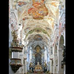 Baroque interior of 'Das Kloster Reichenbach am Regen' in Bavaria, a former Benedictine monastery founded in 1118.  Remodeled in Baroque style during the late 17th early 18th centuries and bought by the Brothers Hospitaller in 1890, for over a hundred years Reichenbach Abbey has been a nursing home for the mentally and physically handicapped.