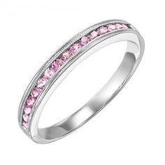 10k white gold pink tourmaline channel set birthstone ring