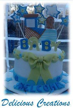 Carter's Train Baby Shower Cake