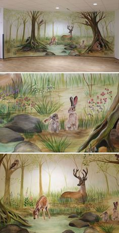 Maternity Ward Woodland Mural by Michelle Meola seen at North Middlesex University Hospital, London Nursery Wall Murals, Kids Wall Murals, Murals For Kids, Mural Painting, Mural Art, Forest Baby Rooms, Fireman Room, Antique Nursery, Middlesex University