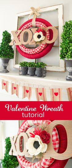 DIY Valentine Wreath tutorial :: Use 2 nesting wreath forms for a layered look! Love this idea.