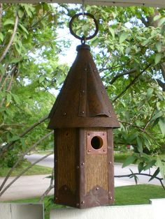 Arts and Crafts Birdhouse Handmade From Reclaimed Barn Wood and Metal Roof