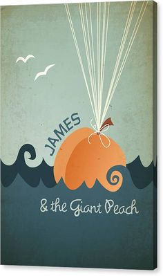 James Canvas Print featuring the digital art James and the Giant Peach by Megan Romo #canvas #art #decor #homedecor #jamesandthegiantpeach