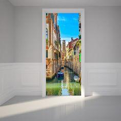 Deur muur Sticker kanaal in Venetië Peel & Stick