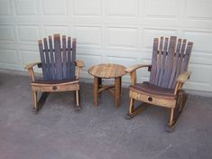 Rocking Chair made from recycled wine barrels. 32 wide, 36 deep, 36 high, seat 22 x 18 , weight approx. 60 lbs. Durable natural finish, hand rubbed linseed oil and sealer. Delivery within 100 miles of Sacramento. Before placing an order please send email with Zip code to determine any