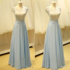 Newest Charming Chiffon Prom Dresses, Appliques Evening Dresses, Prom Dresses,O-Neck Real Made Prom Dresses On Sale,
