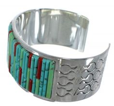 Genuine Sterling Silver Turquoise Coral Southwest Cuff Bracelet www.silvertribe.com