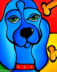 Awww Snap Original Abstract Modern Huge Pop Dog Art Painting by FIDOSTUDIO | eBay