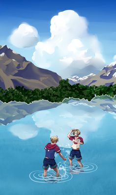 """One of my favorites - it's just the two of them playing around on their land. (""""Hetalia- America and Canada"""")"""