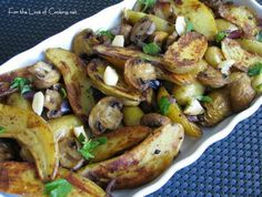 For the Love of Cooking » Roasted Fingerling Potatoes, Mushrooms, Red Onions and Garlic