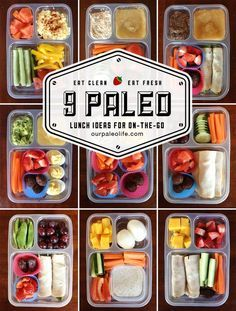 We're not paleo but there are some great lunch ideas in here! 9 Quick & Easy Paleo Lunch Ideas - perfect for kids and adults, packed with protein, veggies, and a healthy treat. Clean Eating Recipes, Healthy Eating, Clean Eating Lunches, Clean Eating Kids, Real Food Recipes, Healthy Recipes, Paleo Food, Detox Recipes, Paleo Recipes For Kids