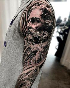 Zeus Tattoo, I Tattoo, Tattoo Quotes, Egyptian Tattoo Sleeve, Filigree Tattoo, Iron Man Wallpaper, Mythology Tattoos, Forearm Tattoo Design, Full Sleeve Tattoos