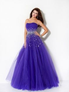 Strapless purple Prom Evening Bridesmaids Dress with Sequins